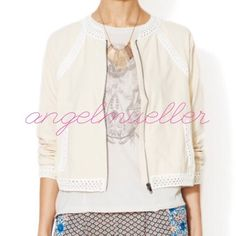 """Free people crochet baseball jacket This Free People jacket is more of a yellow cream peachish color with a crocheted collar and crochet accents. Zipper closure. Fully lined. Two pockets on the front. Brand new, never worn. Length: 21.5"""", bust: 21"""", sleeve length: 27.5"""". Free People Jackets & Coats"""
