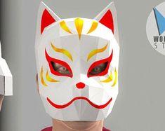 www.instagram.com/wondermingstudio by WonderMingStudio on Etsy Japanese Fox Mask, Anubis Mask, Kitsune Mask, Wolf Mask, Dragon Mask, Cat Mask, Mask Party, Paper Models, Halloween Masks