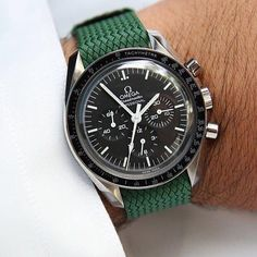 Our green 20mm perlon strap on a Omega Speedmaster. Order the strap from our - whatchsdotcom (@whatchsdotcom)