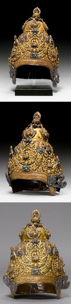 Nepal | Gilt copper crown ~ Mukuta ~ of a Tantric priest with rich stone inlay | 15th / 16th century | The two wings on the side have been replaced more recently | Est. CHF 82 000 ~ Sold (May '14)