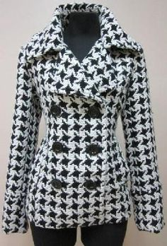 "Designer New Black and White Pea Coat Large ""OFF SEASON SALE"""