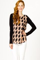 Brush Print Contrast Sweater - NEED this top