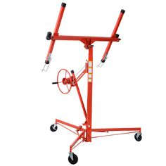 Goplus Drywall Lift Panel Hoist Dry Wall Jack Lifter Lockable w/Caster Wheel, Red Drywall Lift, Plastering Tools, Hanging Drywall, Wall Jack, Construction Tools, Water Crafts, Way Of Life, Drafting Desk, Home Improvement