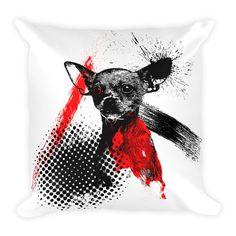 Chihuahua Trash Polka Tattoo Style Decorative Pillow