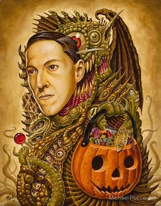 """""""Costume of Cthulhu"""" by Michael Pucciarelli --  August 20, is the birthday of iconic horror writer Howard Phillips """"H.P."""" Lovecraft. The creator of the """"Cthulhu Mythos""""  Behold the unspeakable terrors of this collection that can drive humans insane with a simple glance.   born 20 August 1890, died 15 March 1937"""