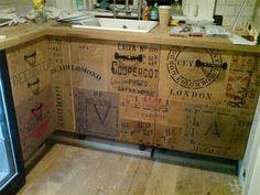 Love love love it!  Tea packing crates as cabinet doors