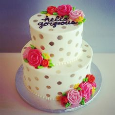 Hello gorgeous golden polka dotted buttercream cake by Hayleycakes and cookies in Austin tx!
