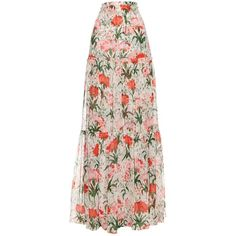 Erdem Sigrid Carnation-print tiered maxi skirt ($1,635) ❤ liked on Polyvore featuring skirts, red white, tiered ruffle skirt, white maxi skirt, white feather skirt, white ruffle skirt and long tiered skirt