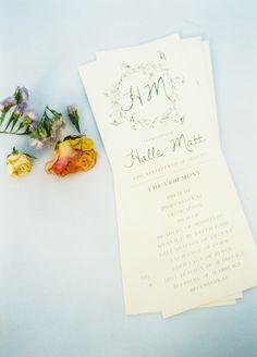 Rustikal, Boho Chic Floral Grün gedruckt Hochzeit Zeremonie Programm