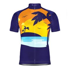 c8e08ca69 Mens  Tropical Paradise Palm Tree Sunset Cycling Jersey