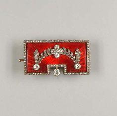 An enamel and diamond brooch, by Fabergé, circa 1896-1908