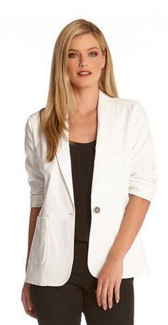 4e575d48ee WHITE RUCHED SLEEVE SPRING JACKET  Karen Kane  White  Ruched  Sleeve  Jacket