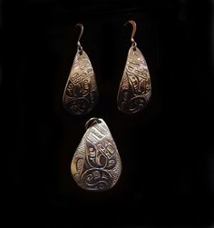 Earring and Pendant Set by Terrence Campbell. Sterling silver bear design. Northwest Coast First Nations Jewelry.