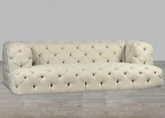 Button Tufted Upholstered Sofa #SilverCoastCompany