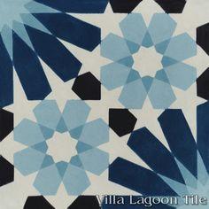 Tangier Blues cement tile, from Villa Lagoon Tile. Moroccan cement tile