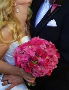 Stunning all pink hydrangea, mini calla lily and bouvardia with garden rose, tea rose and tulips  www.ByJustin.biz Seattle, WA
