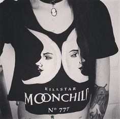 Punk Rock Dark Street Show Cartoon Moon Letter Print Simple Short Sleeve Women Black Gothic Shirt Summer Oversize Plus Size