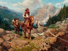 Blue Sky — Jim Norton High in the Rockies Cowboy Pictures, West Art, Cowboy Art, Le Far West, Horse Farms, Mountain Man, Sports Art, Native Art, Old West
