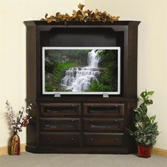 Amish Deluxe Shaker Corner Plasma Entertainment Center Storage, TV space and solid wood strength. Custom made by the Amish in Ohio. #DutchCrafters