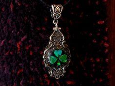 Shiney holographic Irish shamrock spoon necklace by Spoondreams, $25.00