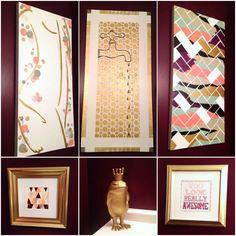 My purple bathroom art gallery!! #DIY bathroom decor, #gold peach purple bathroom, #DIY wall art, #DIY acrylic painting, #paint chip art, #purple ombré, #frog prince decor, #gold bubbles, #herringbone, #vintage faucet