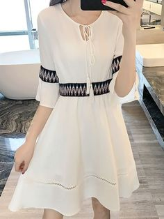 173d64f9c4a Tassles Lace Up Slim Dresses(Size XL-3XL) Short Sleeve  Dress DRESSES Wholesale clothing