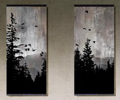 Mountain View Set of 2 paintings on reclaimed barn wood Etsy art diy art easy art ideas art painted art projects Pallet Painting, Pallet Art, Painting On Wood, Painting & Drawing, Wood Paintings, Painting On Windows, Pallet Beds, Wood Art Design, Design Design