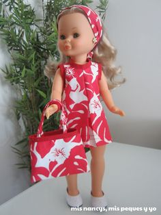 mis nancys, mis peques y yo, conjunto playero: vestido, bolsa y turbante nancy Girl Doll Clothes, Girl Dolls, Clothing Patterns, Sewing Patterns, Nancy Doll, American Girl Crafts, Wellie Wishers, Flower Girl Dresses, Summer Dresses