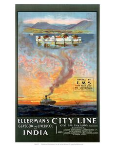 Ellermans City Line Glasgow and Liverpool - Cruise Ship Ad Poster