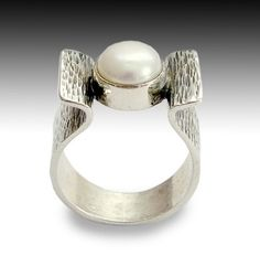 Sterling silver gemstone ring with fresh water by artisanlook, $92.00