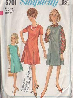 MOMSPatterns Vintage Sewing Patterns - Simplicity 6701 Vintage 60's Sewing Pattern LOVELY Mod Jackie O Princess Seams Jumper, Dress, Inverted Skirt Pleats