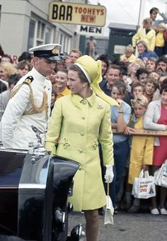 Princess Anne, dressed in a sixties-inspired yellow coat with frogging, arrives in Sydney in 1970 at the Royal Easter Show, one of many visits by the royal family to the show where the crowds gathered again last year 2014 to greet Prince William and Kate