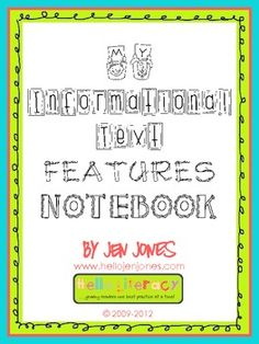 """My Informational Text Features Notebook"" aligned to the Common Core for ELA, 1.RIT.5, 2.RIT.5, 3.RIT.5"