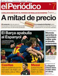 Las rebajas de invierno y la victoria del Barça ante el Espanyol, en la portada este lunes 7 de enero