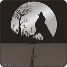 Howling Wolf & Moon Wall Decal - striking and elegant decor. $24.50, via Etsy.