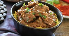 This authentic Goan coconut lamb curry is best served hot with rice.