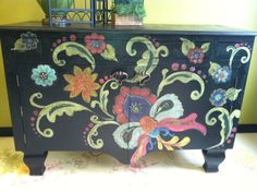 (I love the design idea and colors!) Funky Provencal handcrafted, hand painted buffet. $1,800.00, via Etsy.