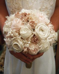 """10"""" Large Size Petal Pink Bridal Bouquet. Colors are eggshell, petal pink, champagne, ivory and natural burlap. from PapernLace on Etsy. #etsy #flowers #bouquet #wedding #bridal."""