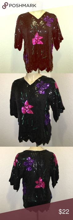 Vintage Black Sequined Floral Print Blouse Top Beautiful floral print sequined black blouse top in excellent condition. Vintage. Late 80s early 90s brand: petite illustrations size 4P Vintage Tops Blouses