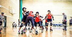 Today's #tbt is this awesome photo by John Hesse! LRR vs Brighton  #rollerderby #londonrockingrollers #britishchamps #blocker #jammer #johhesse #rollerderbygirls @brightonrockers @johnhesse by rockin_rollers