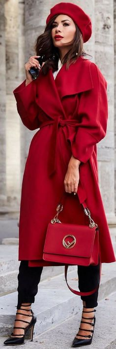 101 On How To Style A Fantastic Red Wrap Coat The Best - https://sorihe.com/fashion01/2018/03/01/101-on-how-to-style-a-fantastic-red-wrap-coat-the-best/