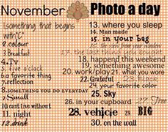 november a day photo challenge