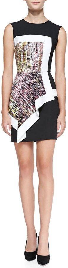 BCBGMAXAZRIA Alessandra Printed/Colorblock Dress