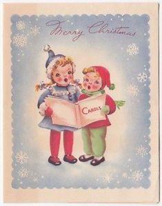 Vintage Greeting Card Christmas Children Carolers Snowflakes 1940s
