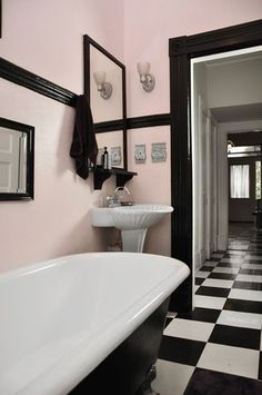 This is the general idea for the guest bathroom. Light pink walls, black trim & checkered floors Save the pink bathrooms Mini bathroom ideas Bad Inspiration, Bathroom Inspiration, Bathroom Ideas, Bathroom Colors, Bathroom Vanities, Bathroom Organization, Bathroom Cabinets, Basement Bathroom, Bathroom Flooring