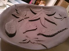 Sculptural leaf bowl. Hand built using Timberline Sculptural mix clay, and inspiration from my own yard.