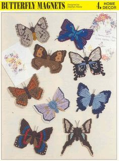 Free Plastic Canvas Magnet Patterns | BUTTERFLY MAGNETS plastic canvas pattern by puddinpop on Etsy