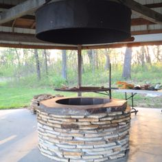 New fire pit in the gazebo