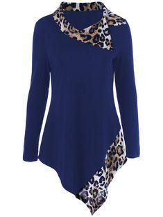 Tees & T-Shirts | Deep blue Leopard Trim Asymmetrical T-Shirt - Gamiss