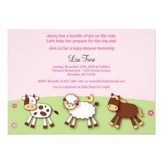 Girl Farm Animals Custom Baby Shower Invitations
